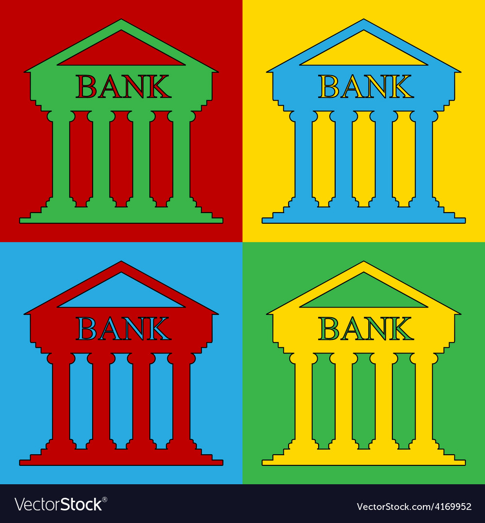 Pop art bank icons vector | Price: 1 Credit (USD $1)