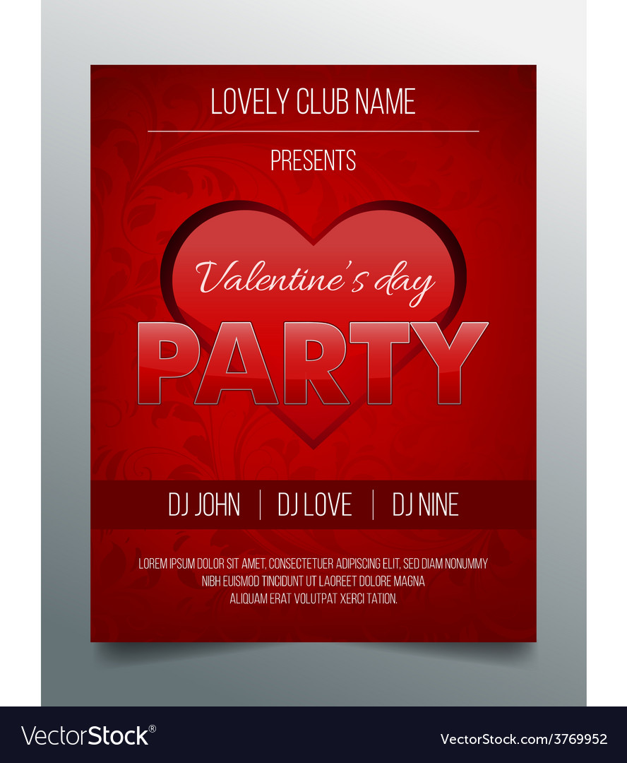 Valentines day party flyer template - red design vector | Price: 1 Credit (USD $1)