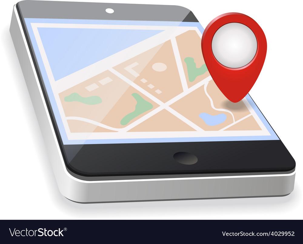 World map gps navigation mobile phone vector | Price: 1 Credit (USD $1)