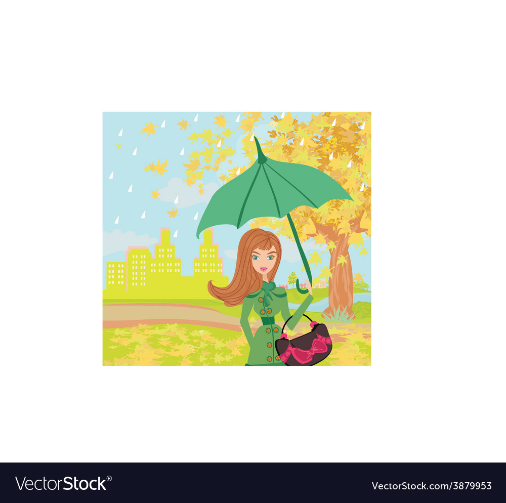 Beautiful woman with umbrella vector   Price: 1 Credit (USD $1)