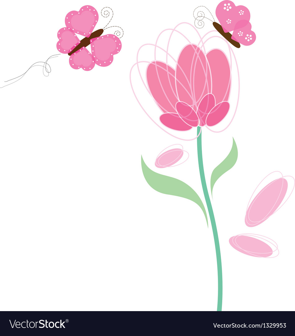 Butterfly and flower design vector | Price: 1 Credit (USD $1)