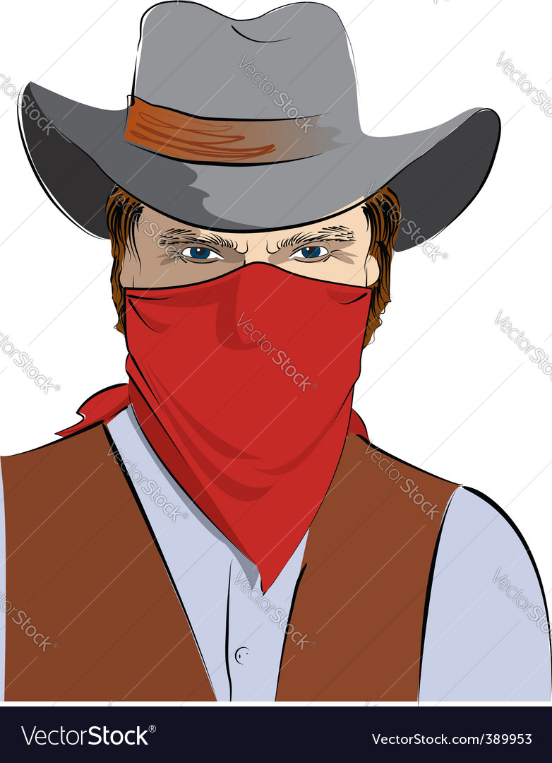 Cowboy in mask vector | Price: 3 Credit (USD $3)