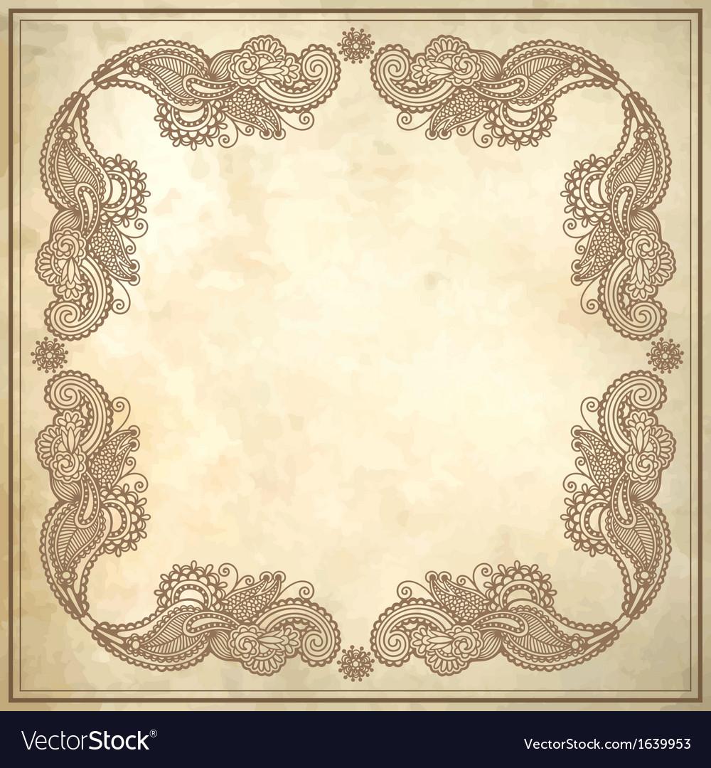 Flower frame design on grunge background vector   Price: 1 Credit (USD $1)