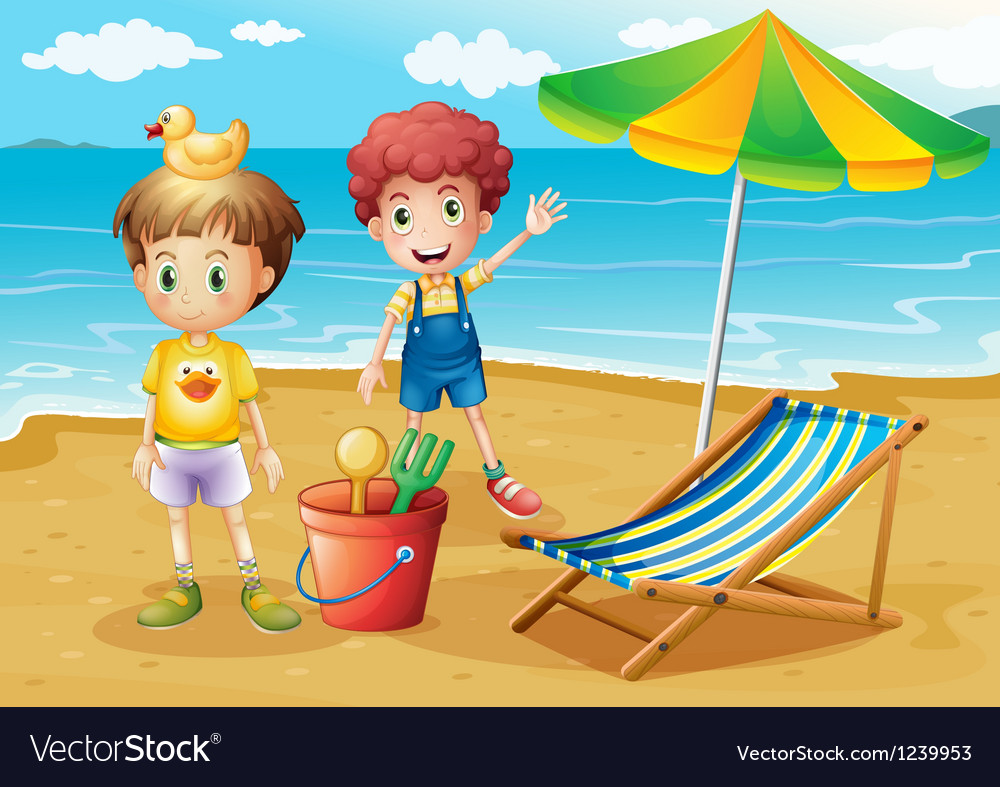 Kids at the beach with an umbrella and a foldable vector | Price: 1 Credit (USD $1)