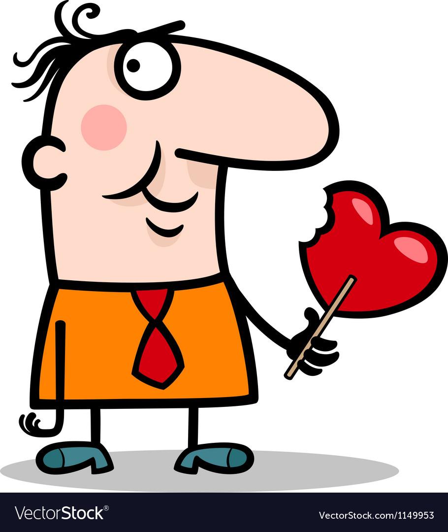 Man wit valentine hearth lollipop cartoon vector   Price: 1 Credit (USD $1)