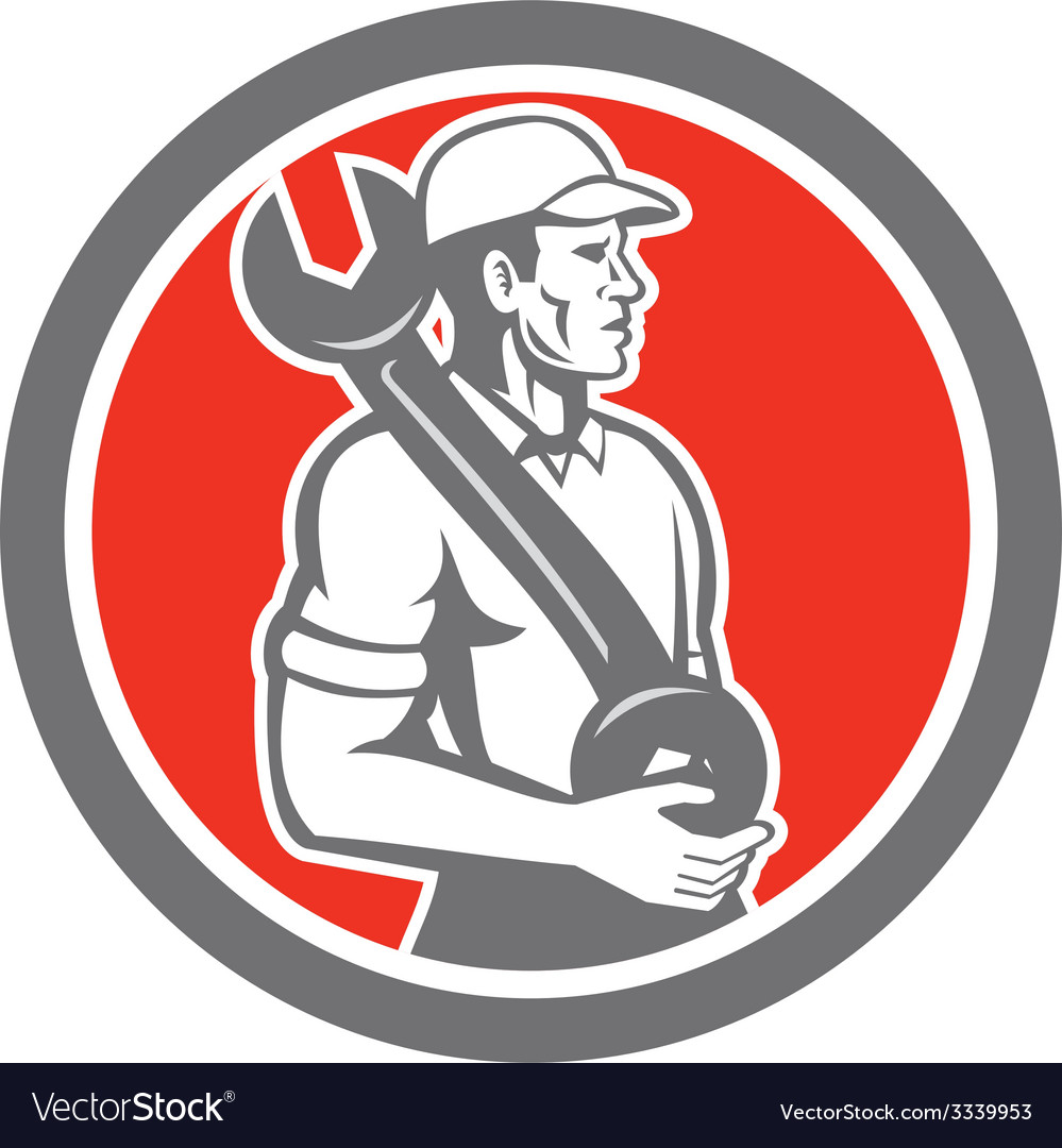 Mechanic spanner wrench side circle retro vector | Price: 1 Credit (USD $1)