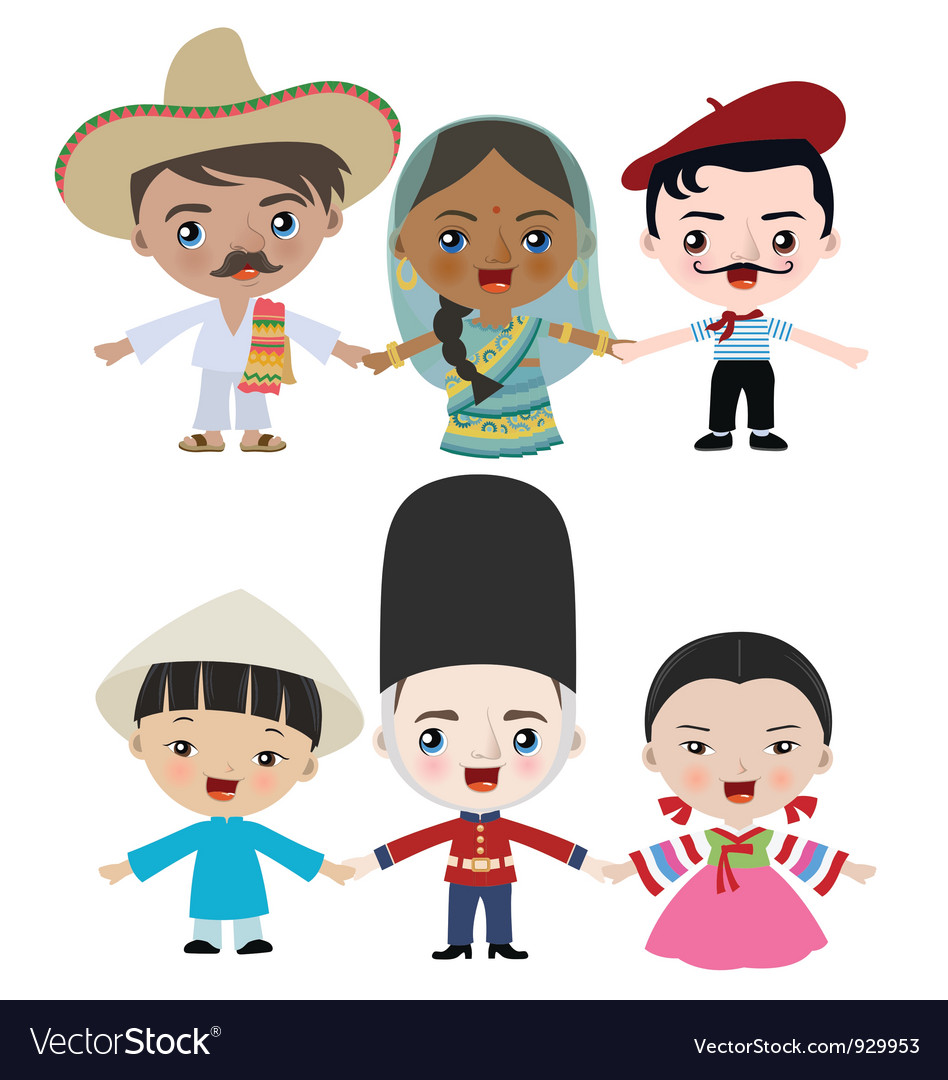 Multicultural children holding hands vector | Price: 3 Credit (USD $3)