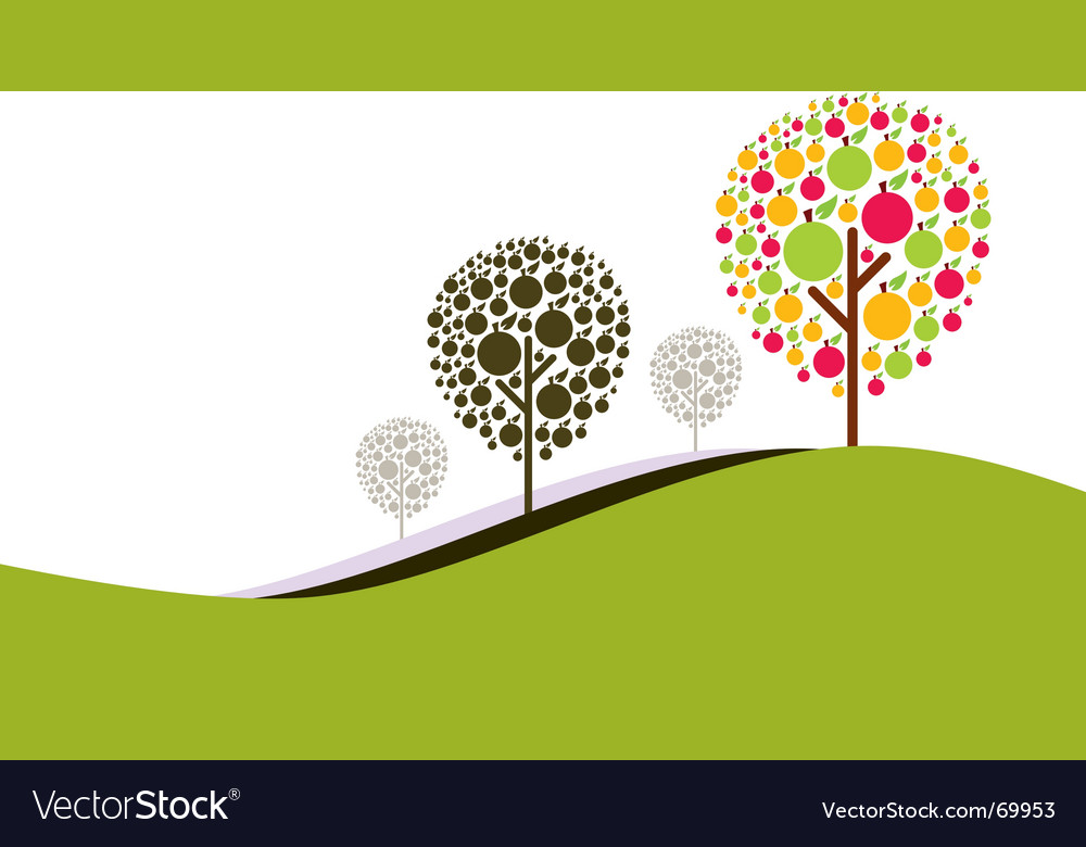 Retro nature background vector | Price: 1 Credit (USD $1)
