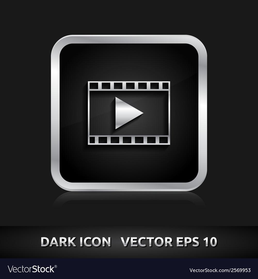 Video format icon silver metal vector | Price: 1 Credit (USD $1)