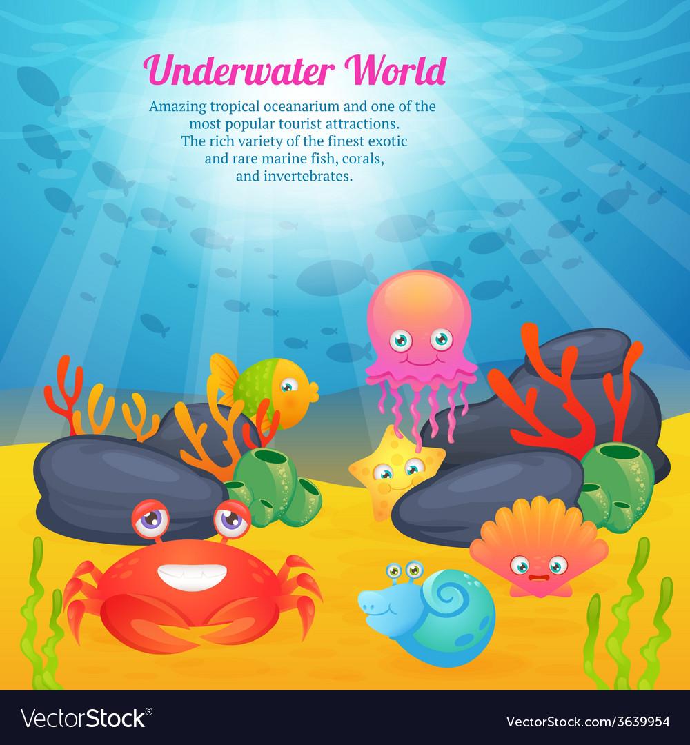 Cute animals underwater world series vector | Price: 1 Credit (USD $1)