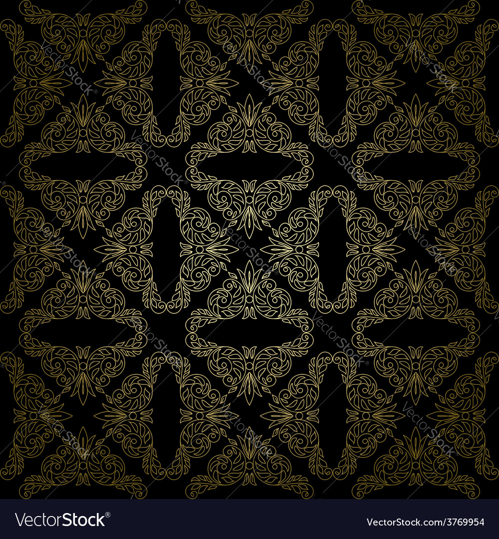 Floral gold pattern on black background  seamless vector