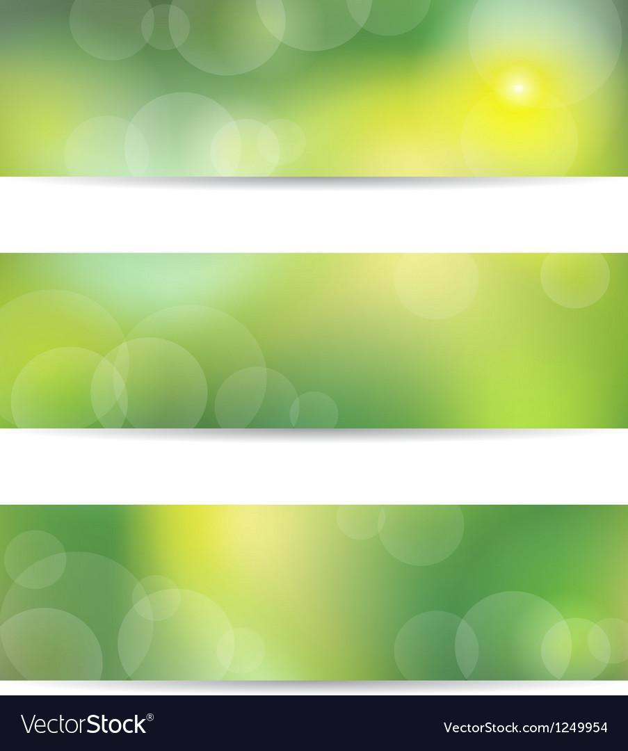Green banner set vector