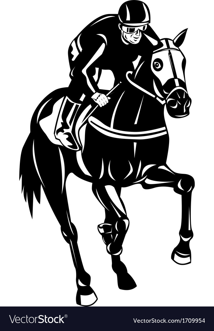 Horse racing equestrian retro woodcut vector | Price: 1 Credit (USD $1)