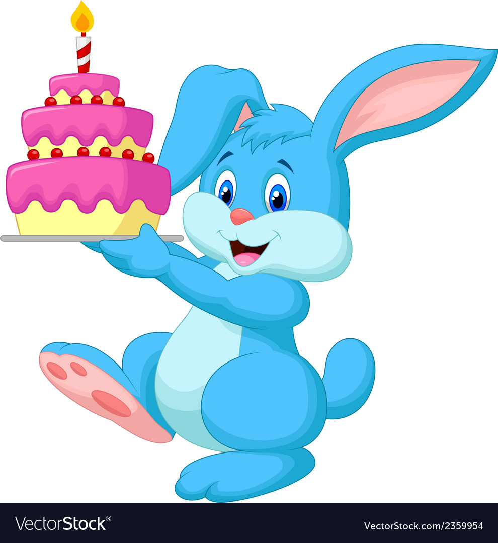 Rabbit cartoon with birthday cake vector | Price: 1 Credit (USD $1)