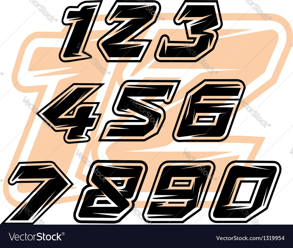 Racing sports numbers vector | Price: 1 Credit (USD $1)