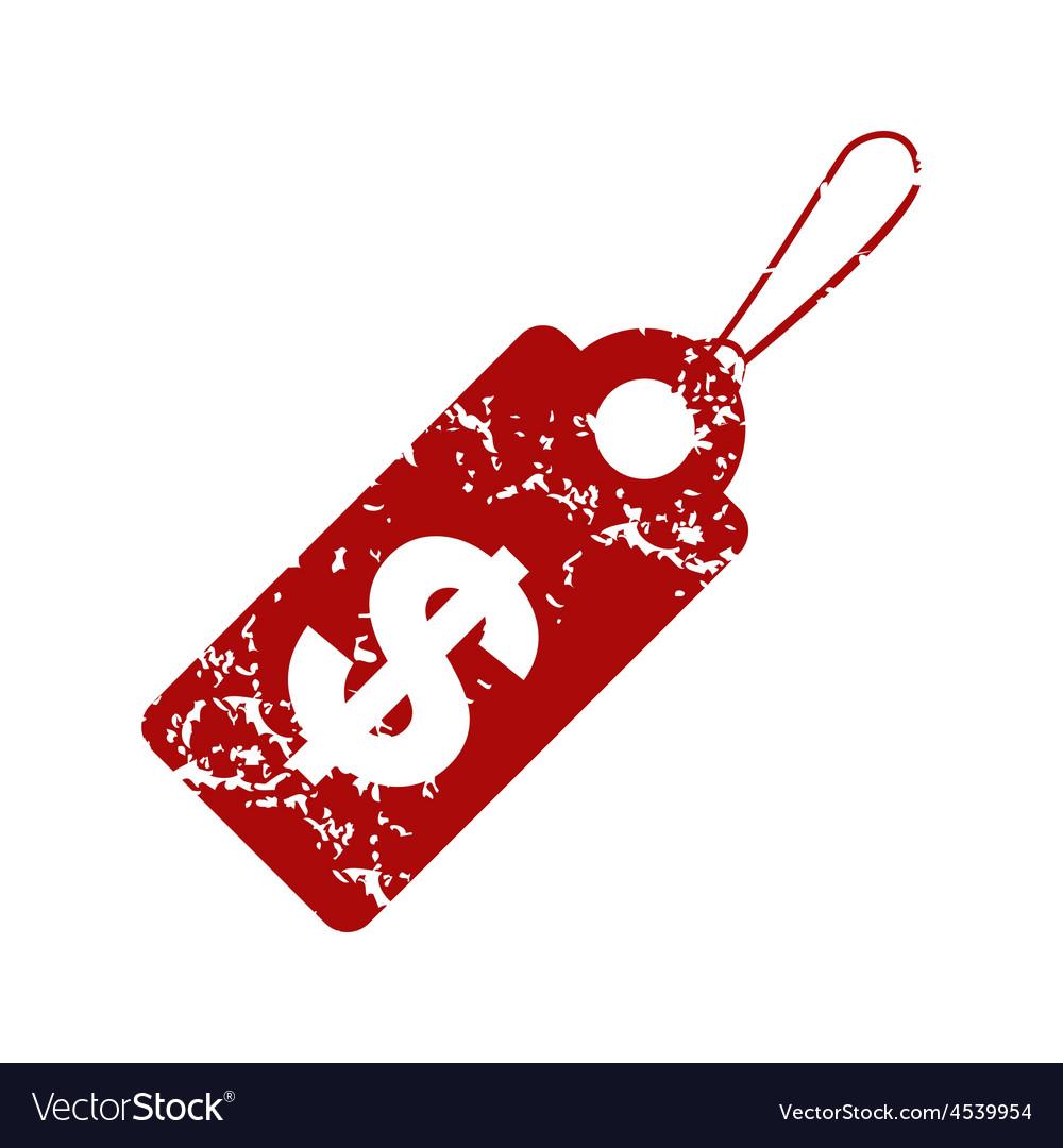 Red grunge dollar tag logo vector | Price: 1 Credit (USD $1)