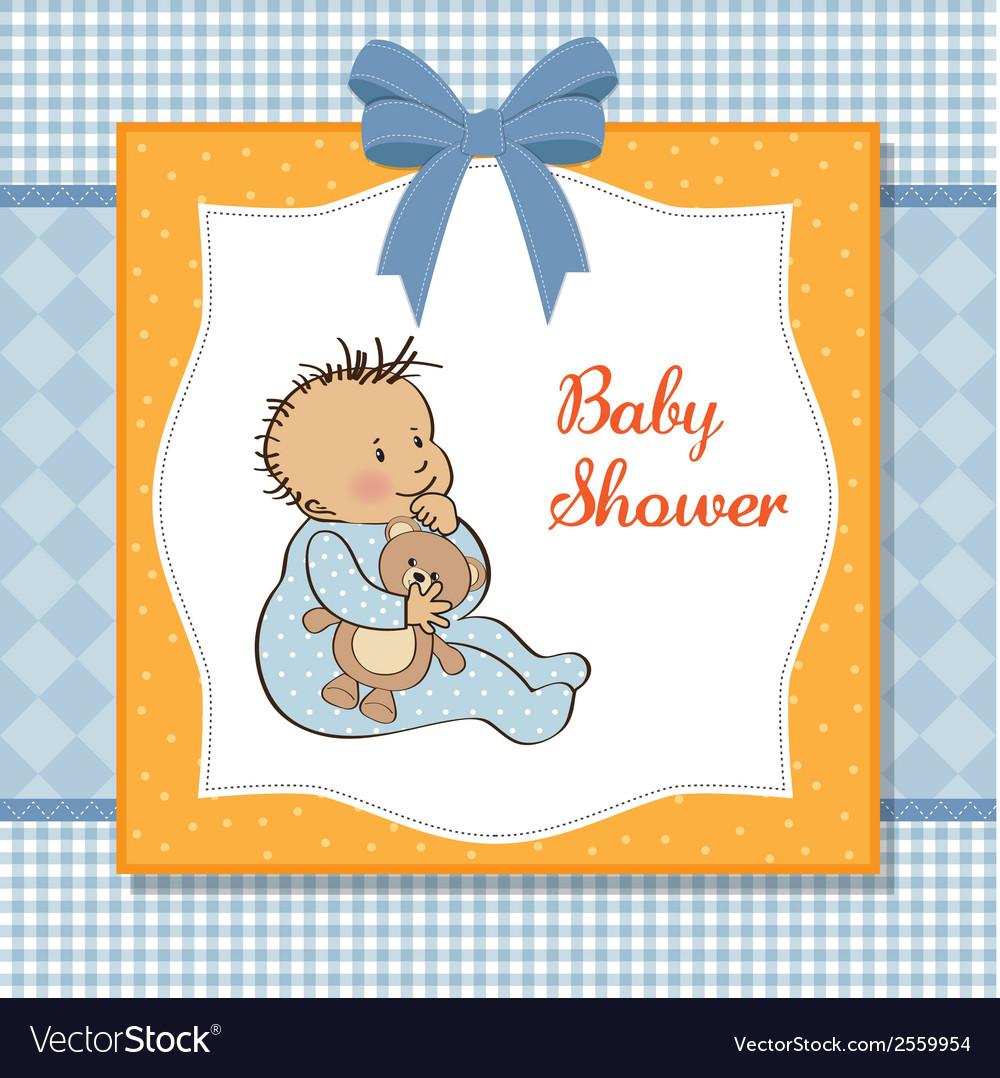 Romantic baby boy shower card vector | Price: 1 Credit (USD $1)