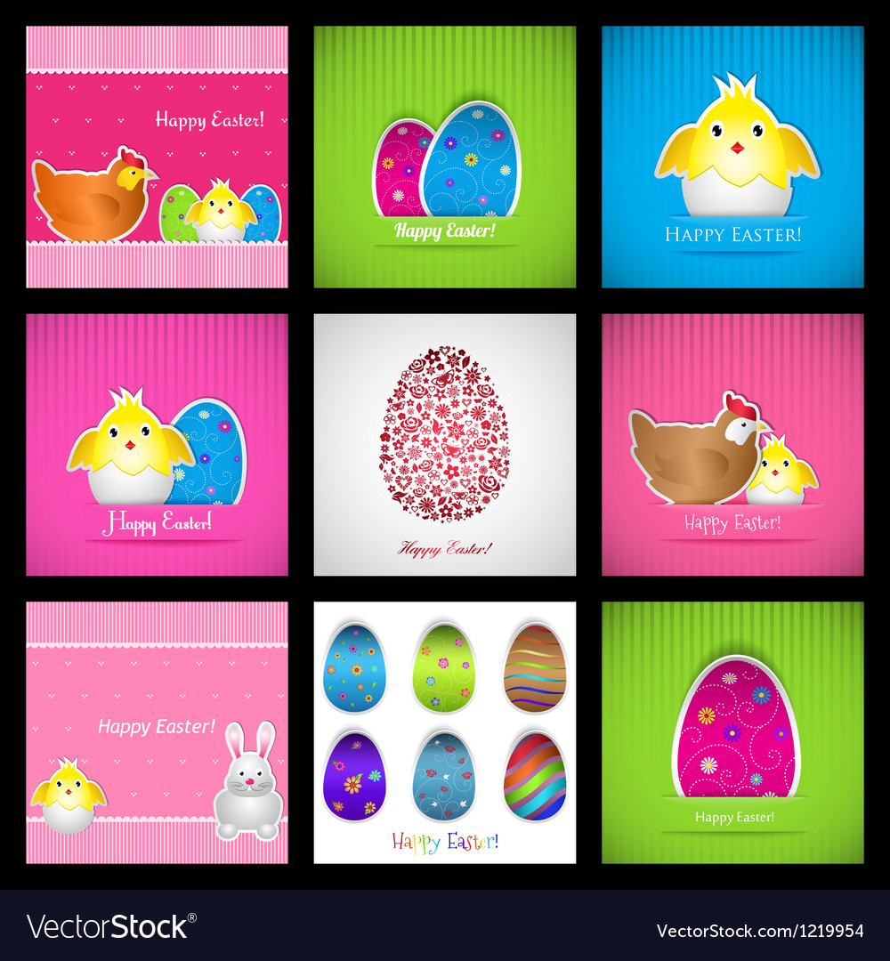 Set of easter cards vector | Price: 3 Credit (USD $3)