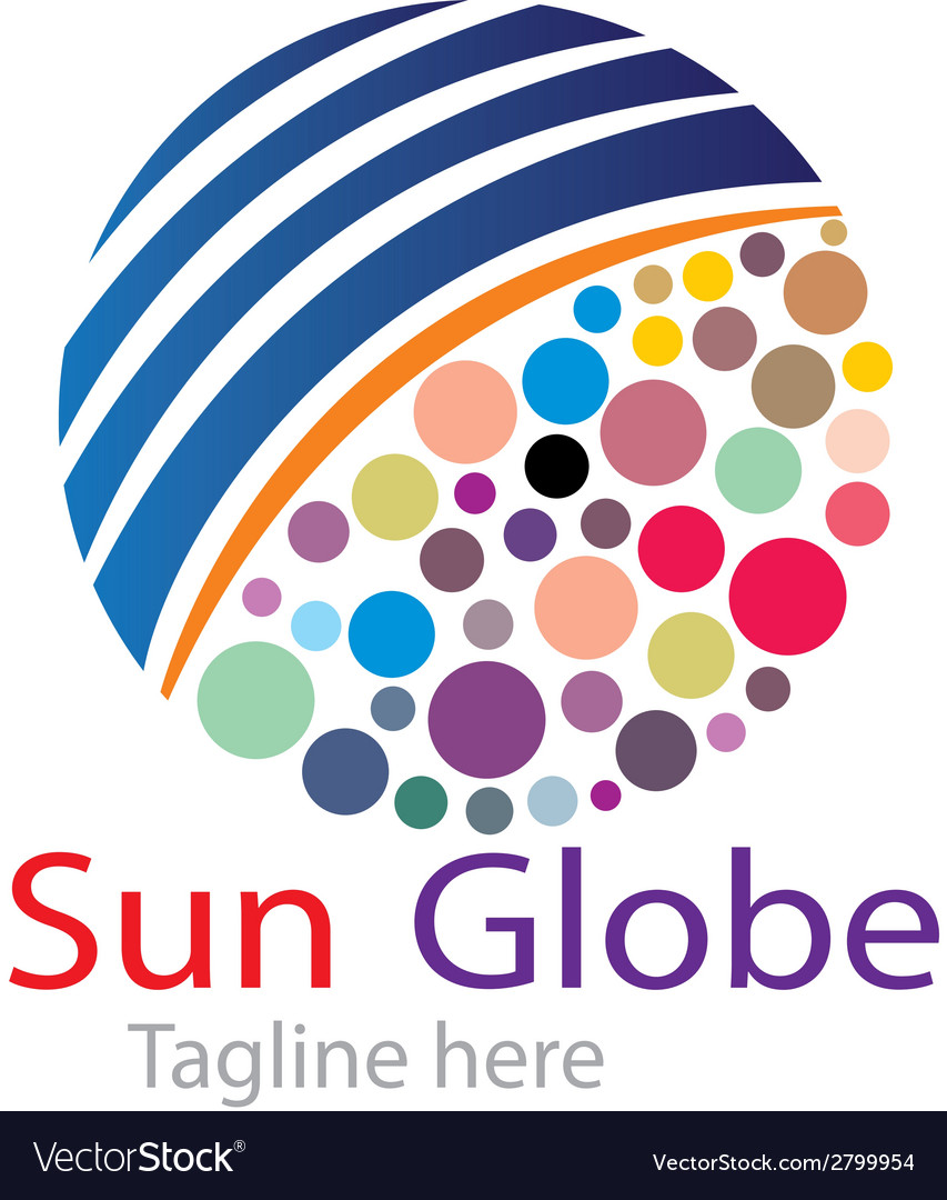 Sun globe logo vector | Price: 1 Credit (USD $1)