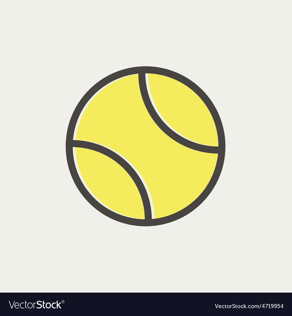 Tennis ball thin line iocn vector | Price: 1 Credit (USD $1)