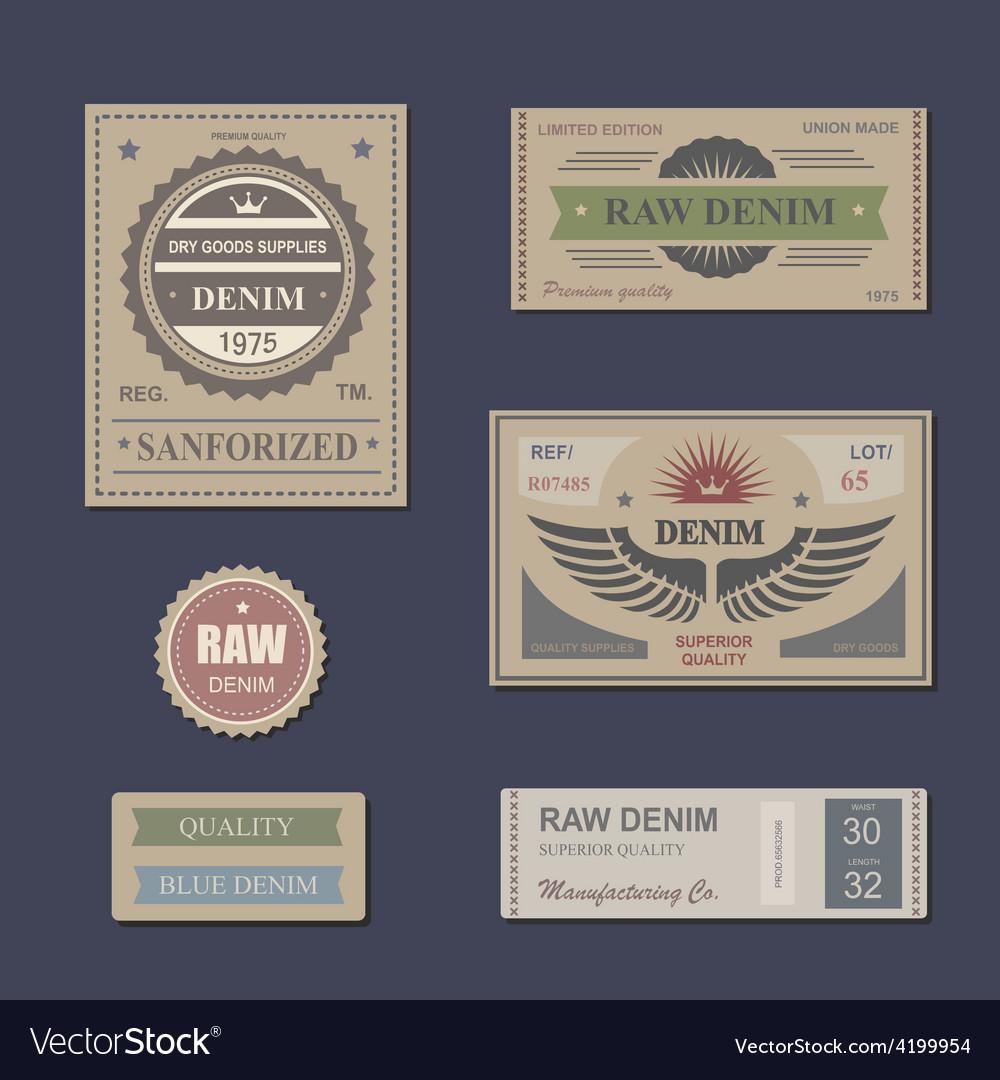 Vintage labels denim typography t-shirt vector | Price: 1 Credit (USD $1)