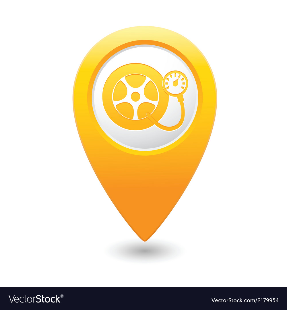 Wheel pump icon yellow map pointer vector | Price: 1 Credit (USD $1)