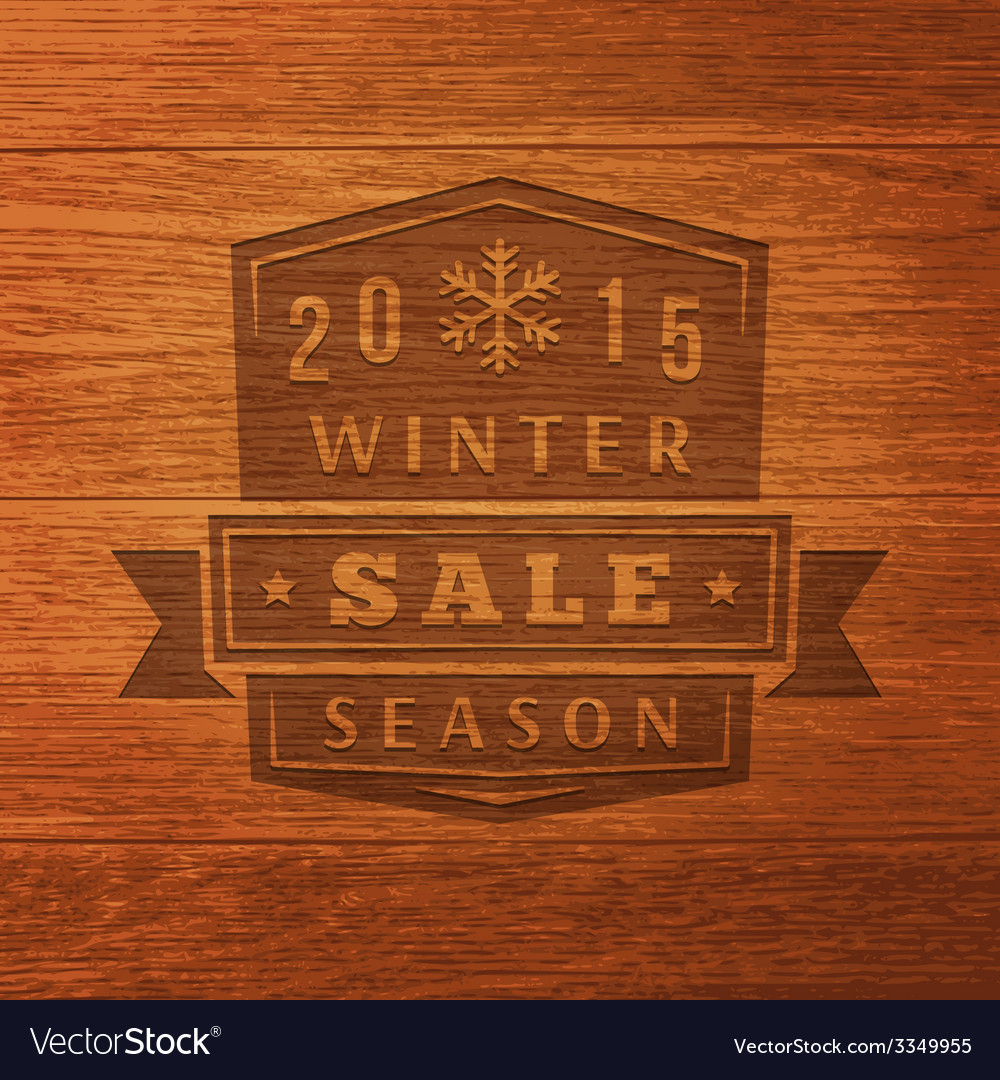 2015 winter sale label on wood texture background vector | Price: 1 Credit (USD $1)