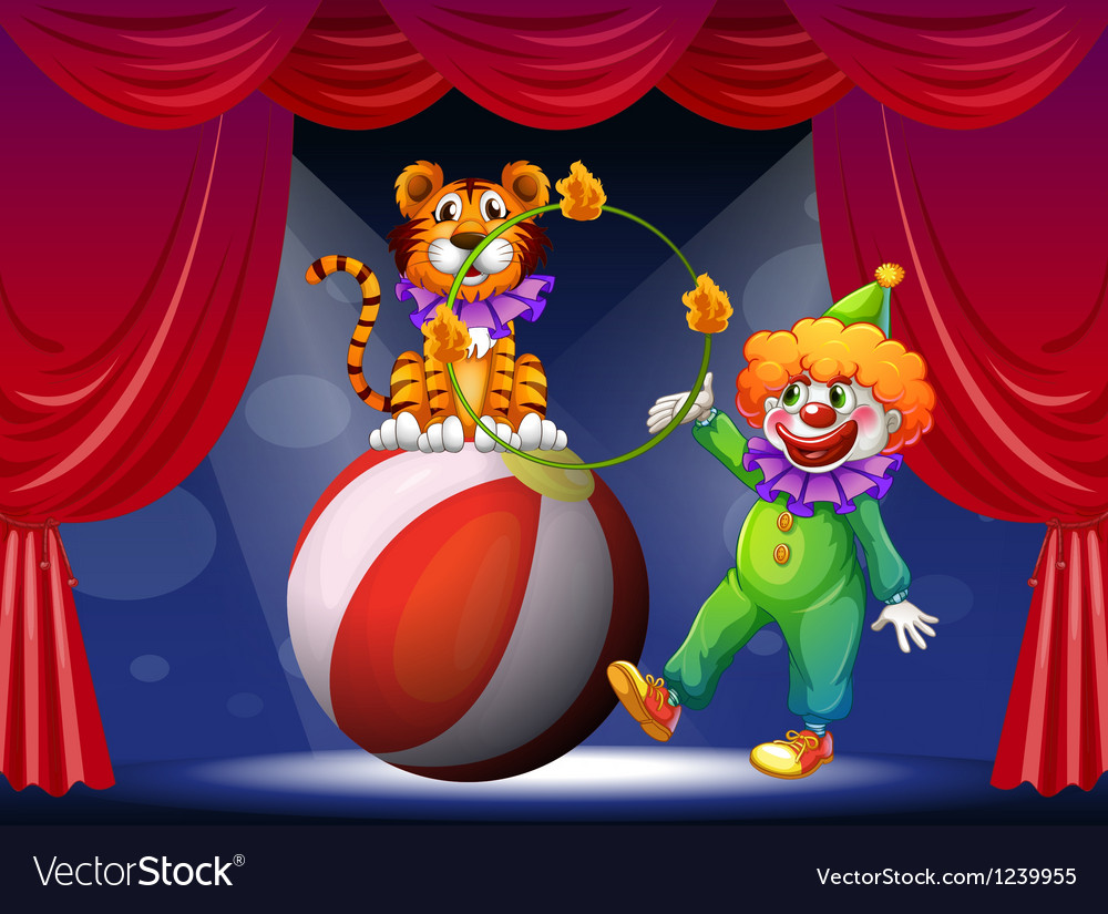 A tiger and a clown performing at the stage vector | Price: 1 Credit (USD $1)