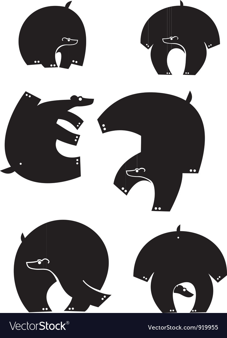 Bear silhouettes vector | Price: 1 Credit (USD $1)