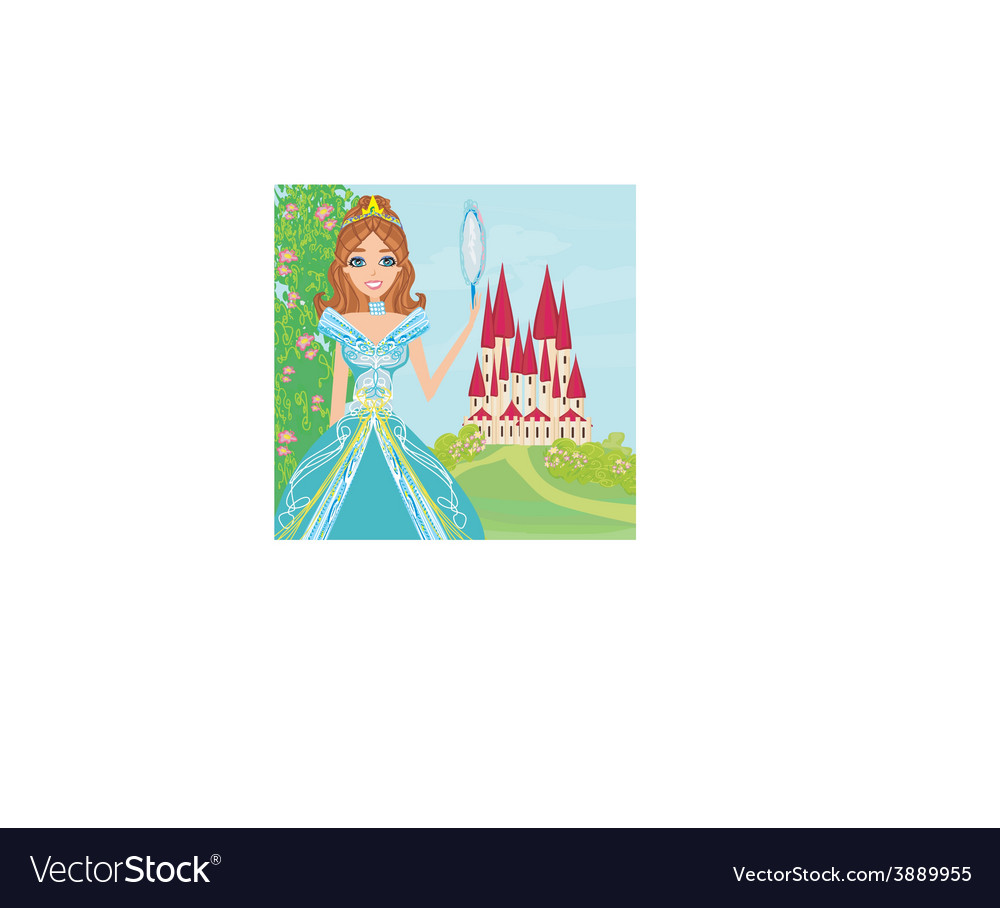 Beautiful princess with mirror in her hands vector | Price: 1 Credit (USD $1)