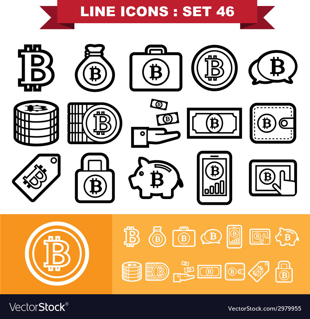 Bitcoin line icons set 46 vector | Price: 1 Credit (USD $1)