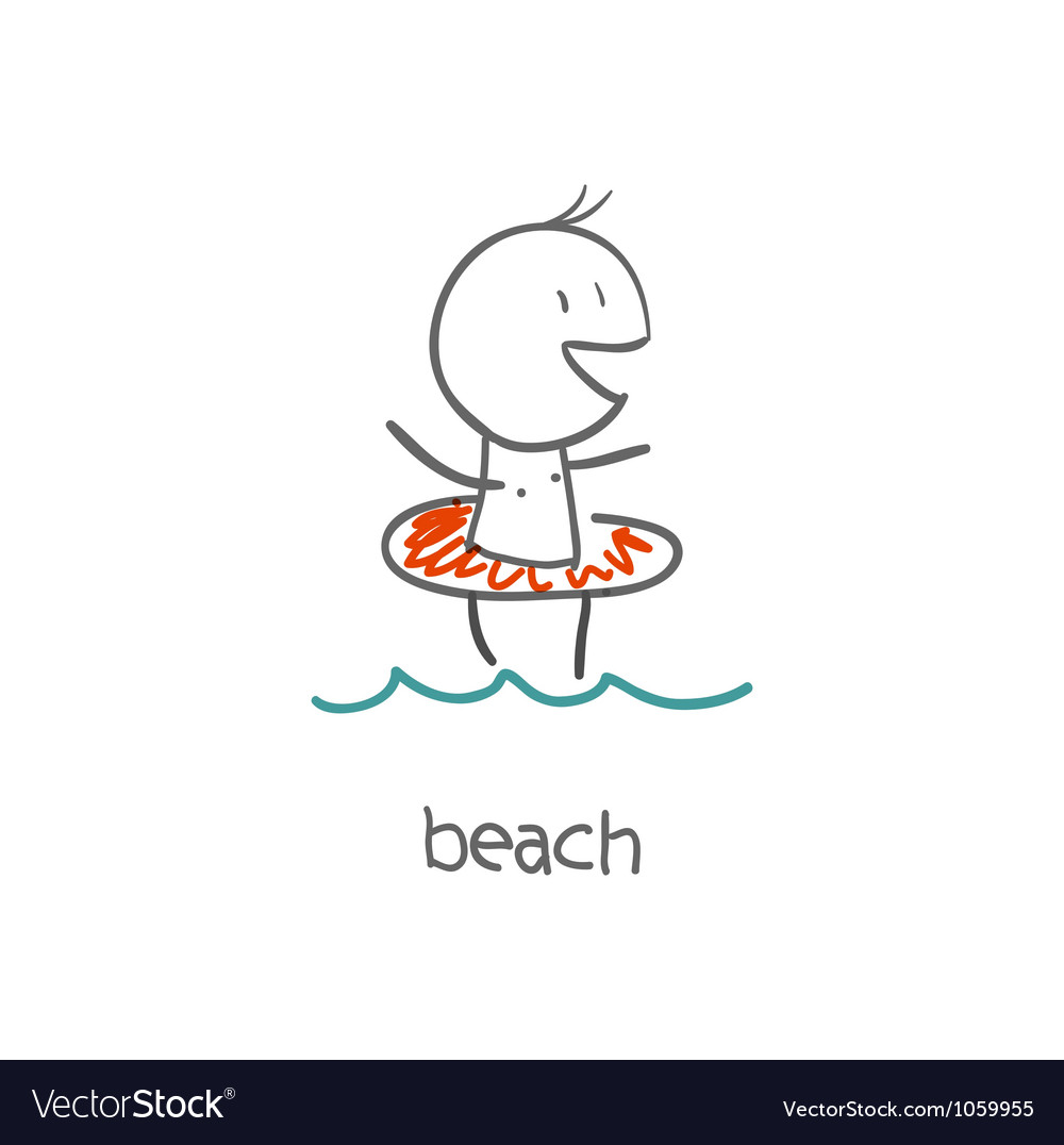 Boy on the beach vector | Price: 1 Credit (USD $1)