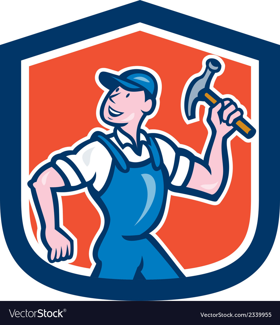 Builder carpenter holding hammer cartoon vector | Price: 1 Credit (USD $1)