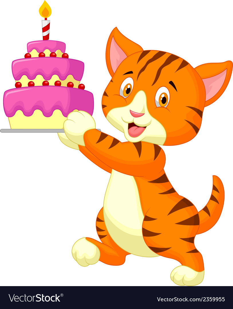 Cat cartoon with birthday cake vector | Price: 1 Credit (USD $1)