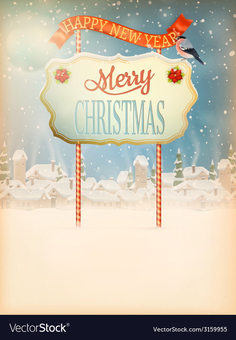 Christmas vintage street with signboard eps 10 vector | Price: 3 Credit (USD $3)