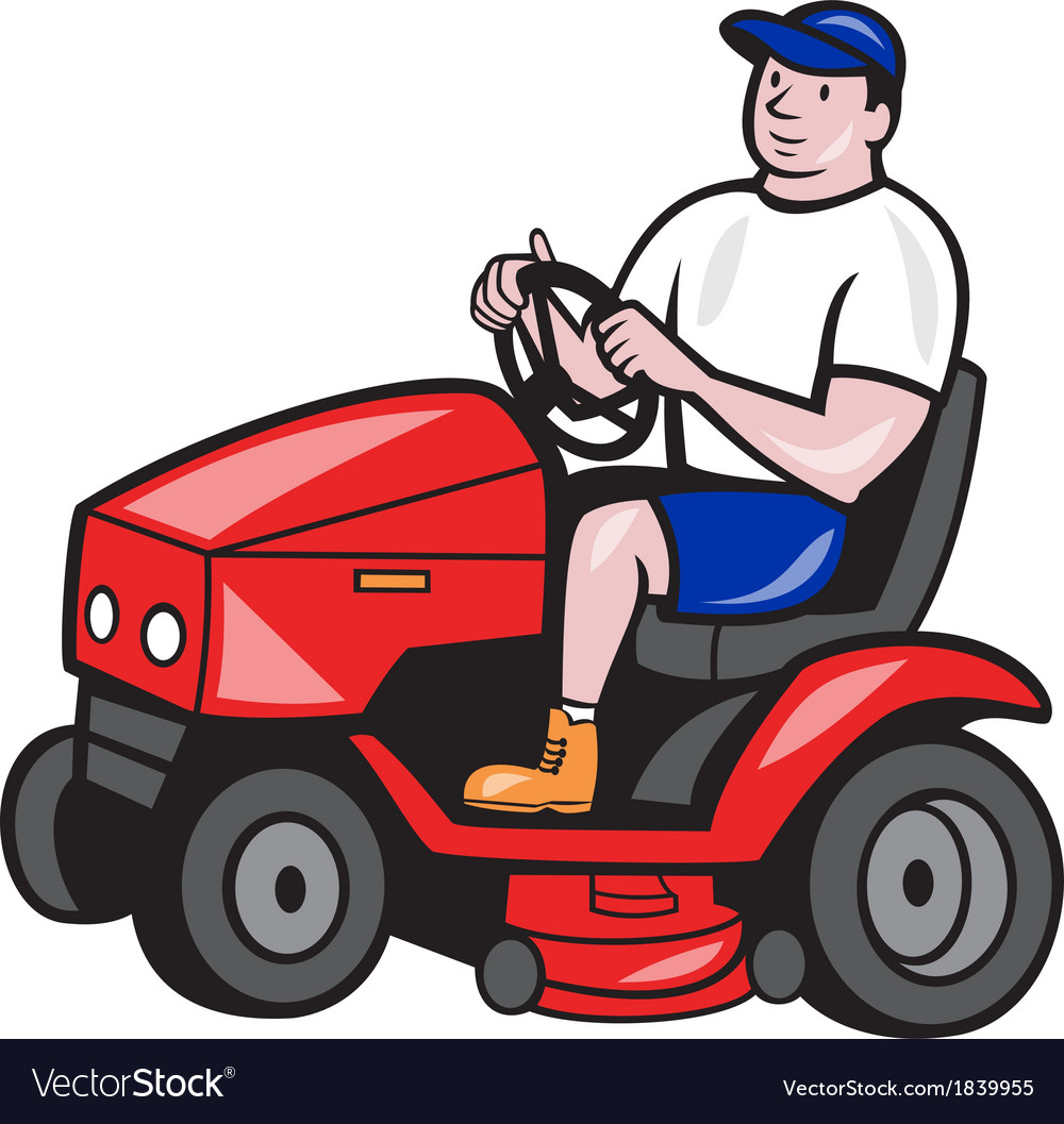 Gardener mowing rideon lawn mower cartoon vector | Price: 1 Credit (USD $1)