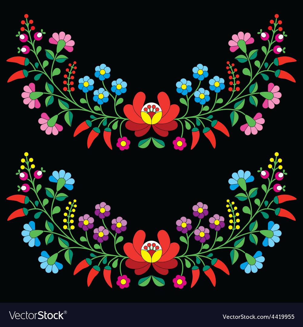 Hungarian floral folk pattern - kalocsai vector   Price: 1 Credit (USD $1)