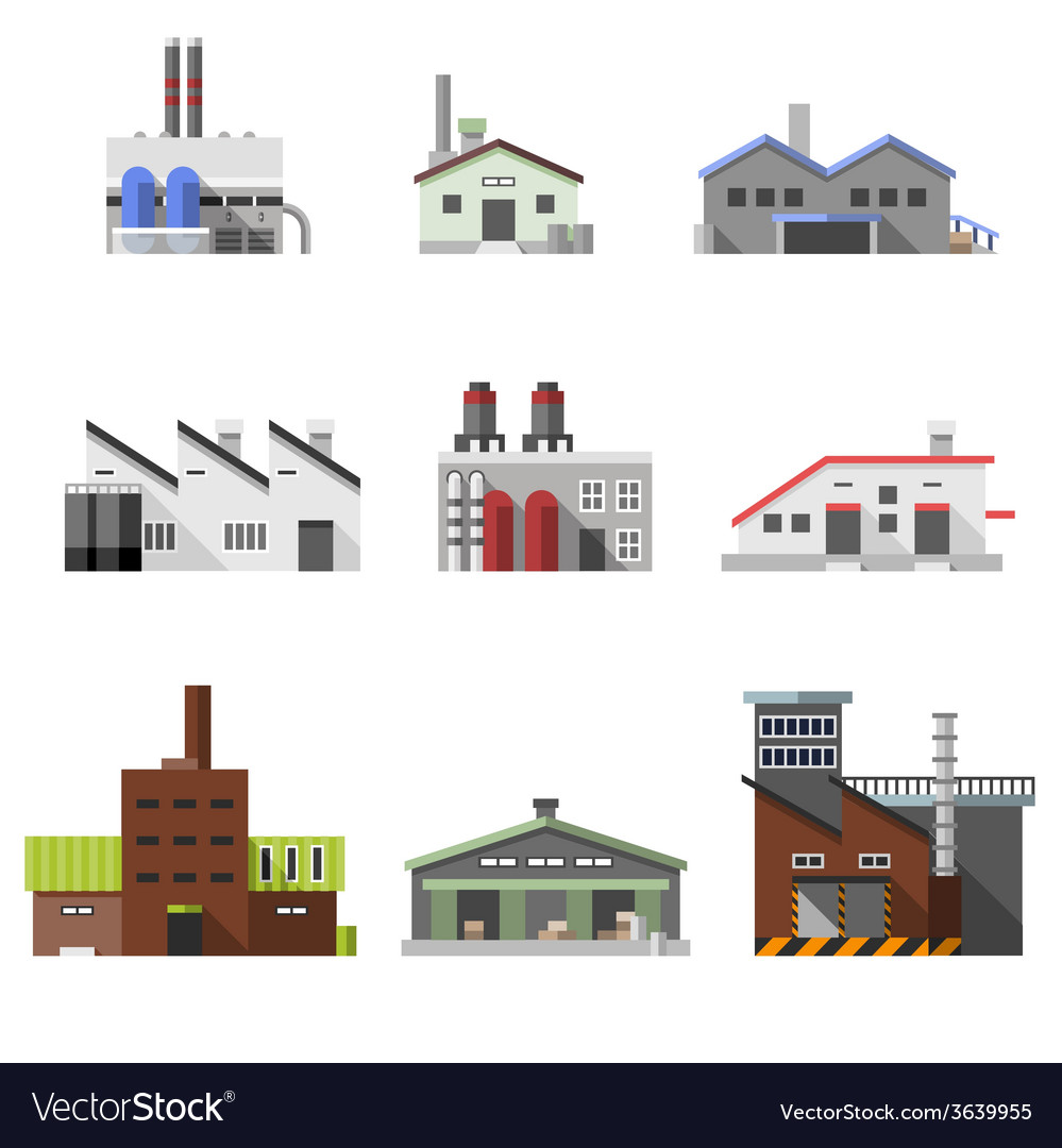 Industrial buildings flat vector | Price: 1 Credit (USD $1)
