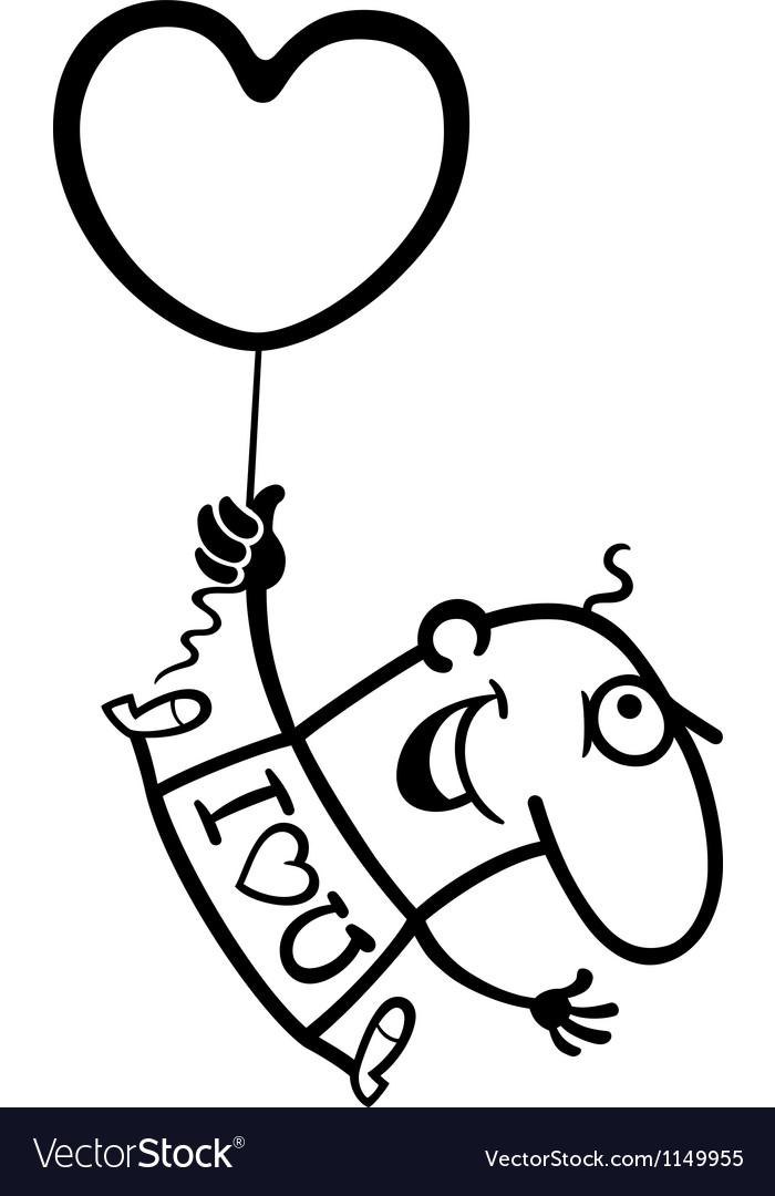 Man wit valentine hearth balloon cartoon vector   Price: 1 Credit (USD $1)