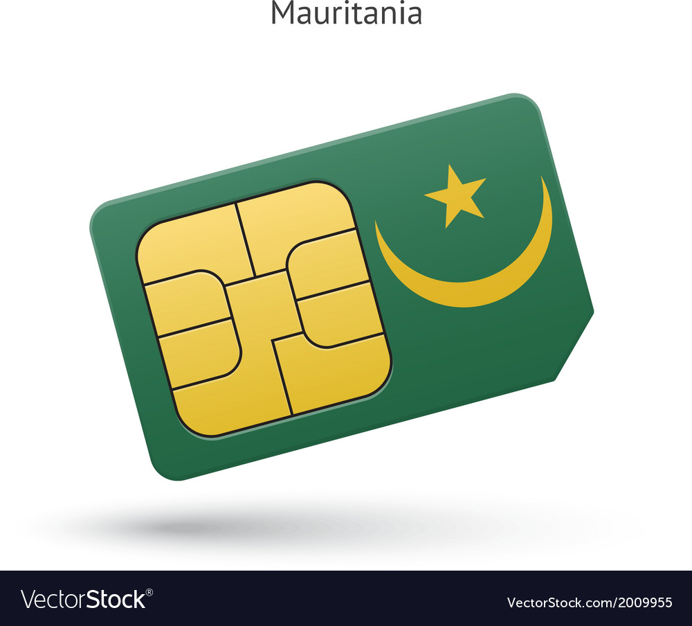 Mauritania mobile phone sim card with flag vector   Price: 1 Credit (USD $1)