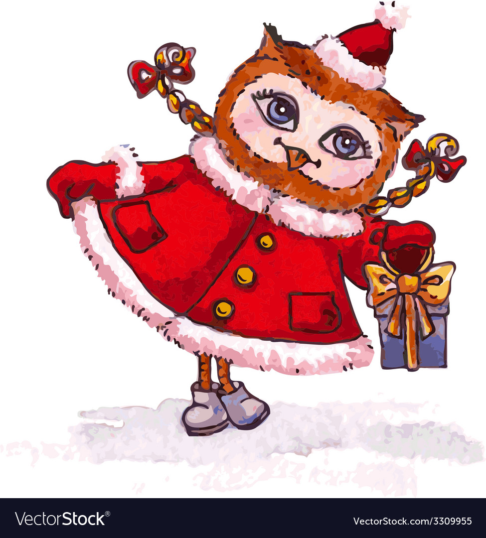 Owl maiden in a red coat with gift watercolor vector   Price: 1 Credit (USD $1)