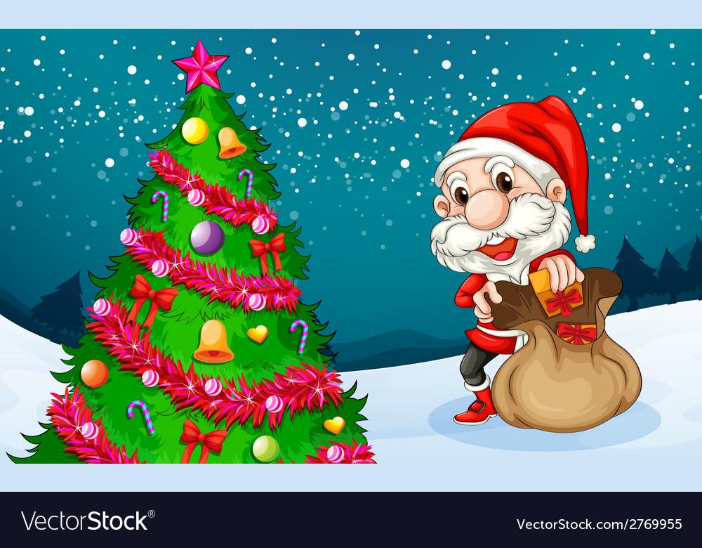 Santa near the big christmas tree vector | Price: 1 Credit (USD $1)