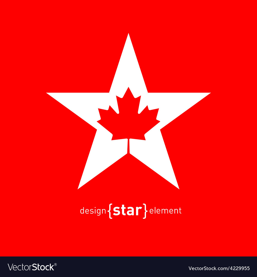Star with canadian maple leaf vector | Price: 1 Credit (USD $1)