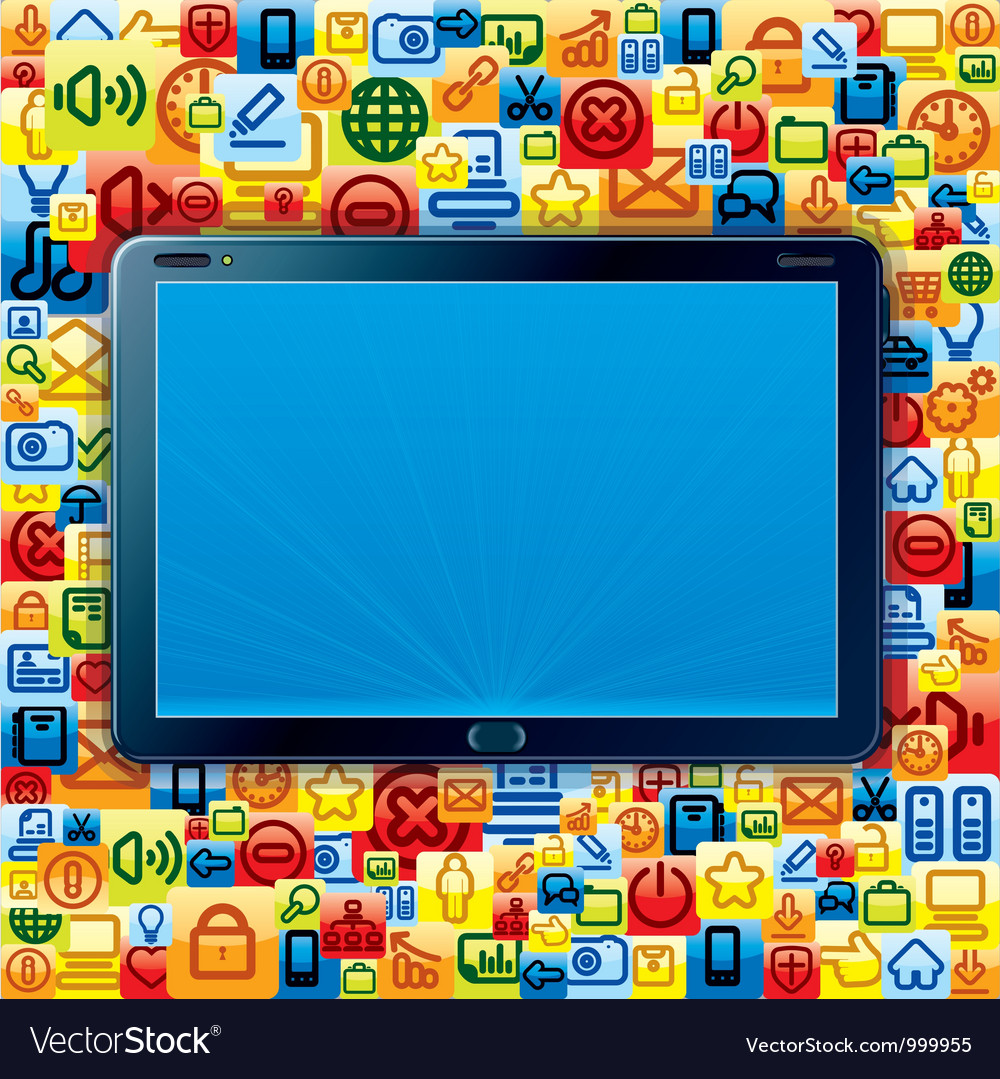 Tablet pc with apps background vector | Price: 1 Credit (USD $1)