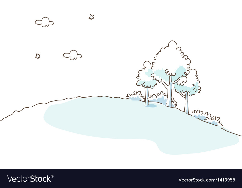Trees over hill vector | Price: 1 Credit (USD $1)