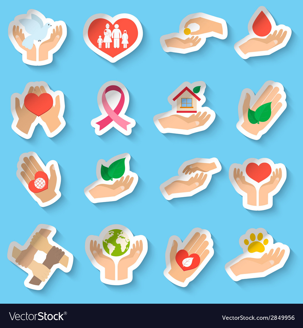 Charity and donation stickers vector | Price: 1 Credit (USD $1)