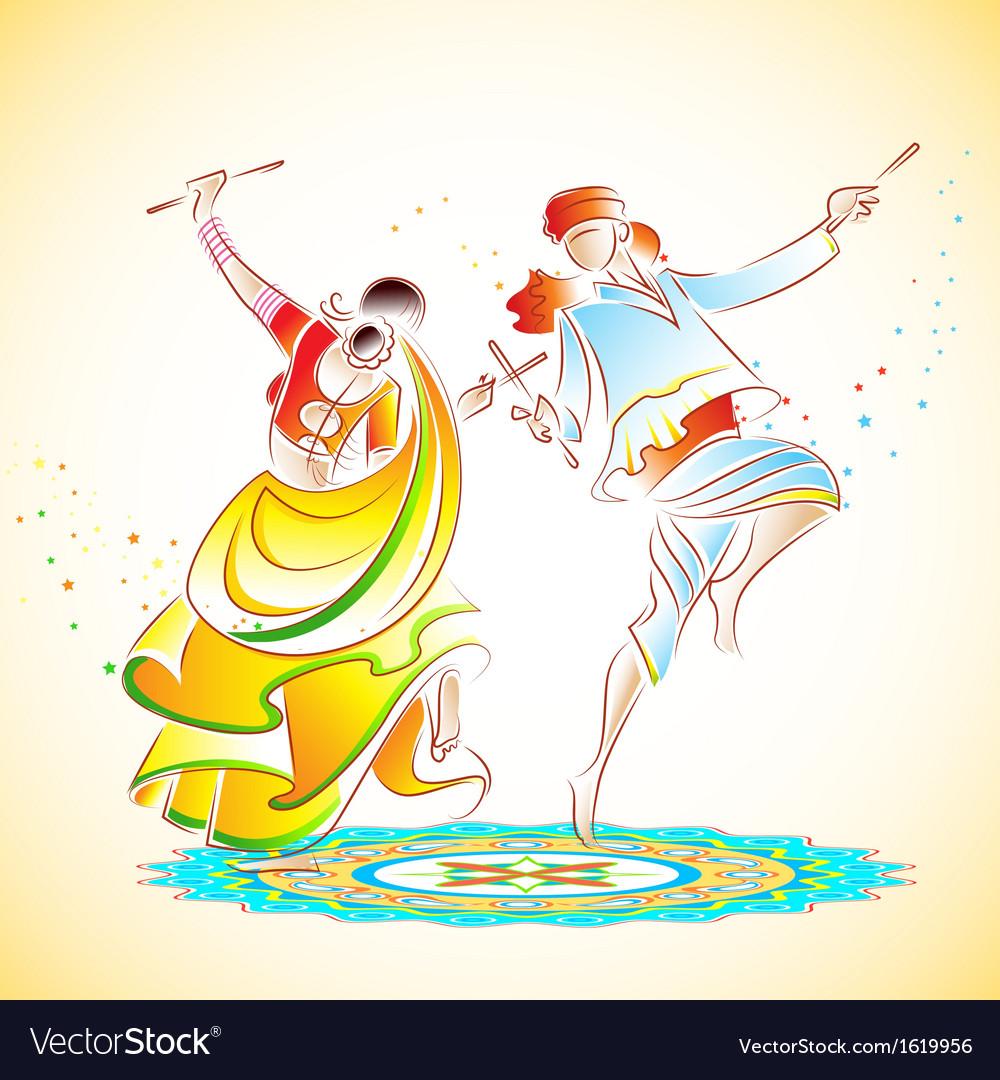 Couple playing dandiya vector | Price: 1 Credit (USD $1)