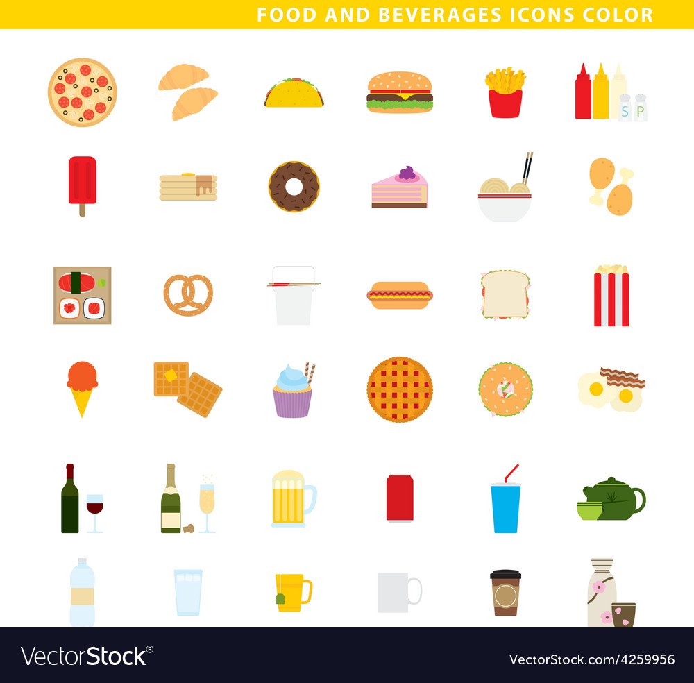 Food and beverages icons color vector | Price: 1 Credit (USD $1)