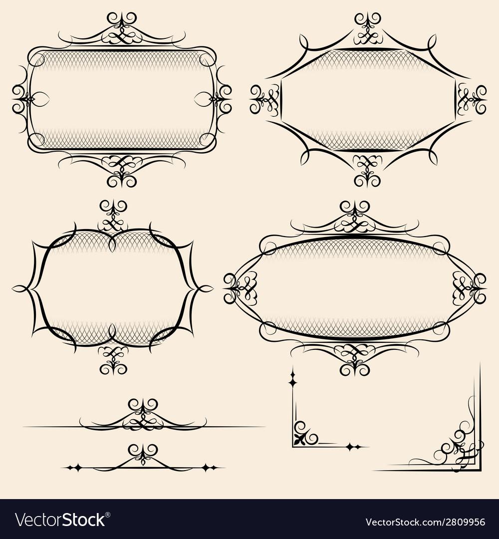 Four elegant vintage frames vector | Price: 1 Credit (USD $1)