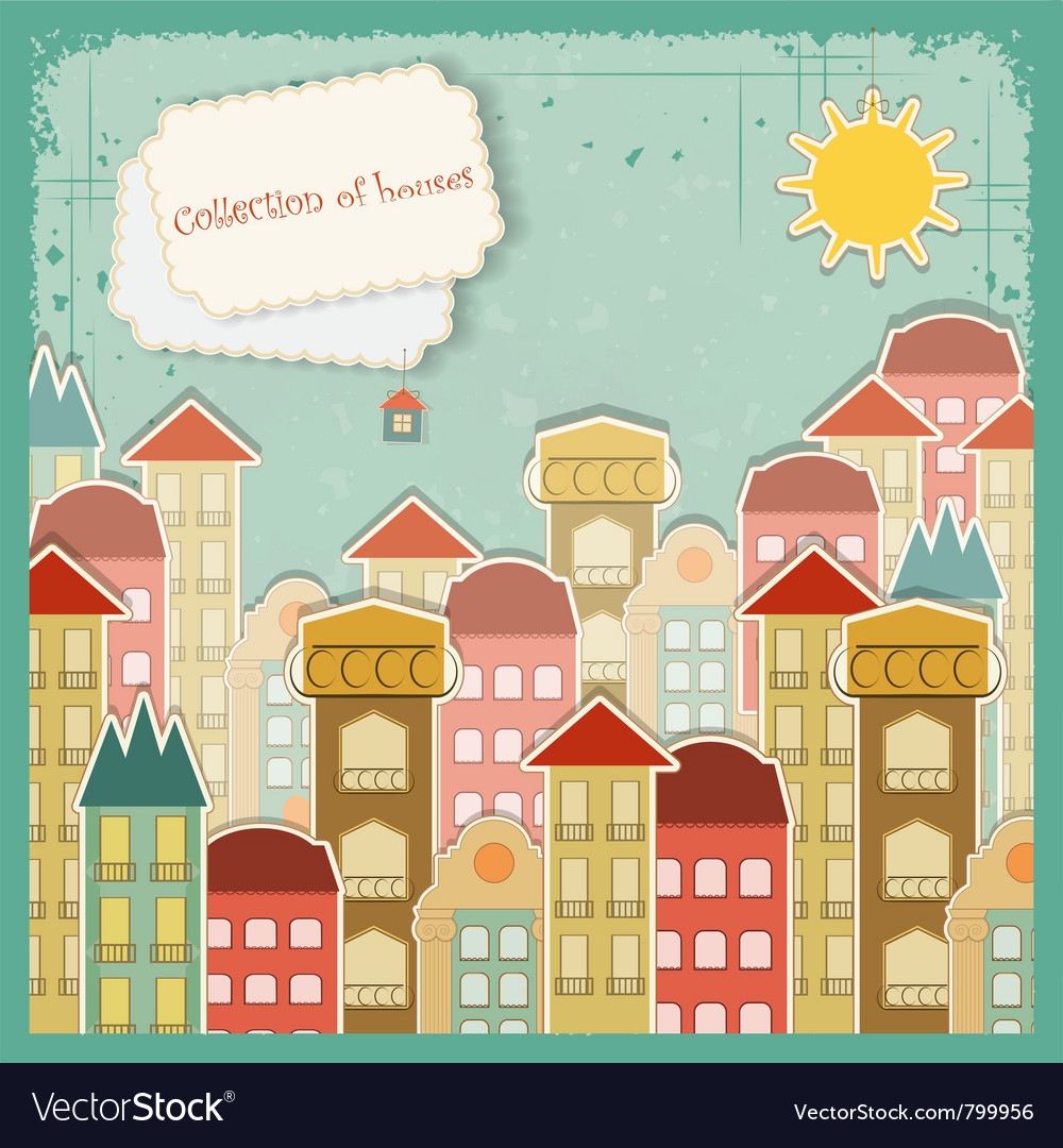 Houses on vintage background vector | Price: 1 Credit (USD $1)